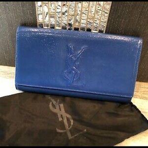 YSL YVES SAINT LAURENT Blue Patent Lester Wallet